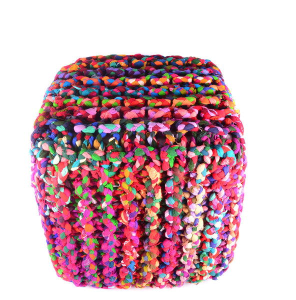 "Pouf & Ottoman Cube Shape Cotton Braided Footstool Multi Color Size 18""X 18"""