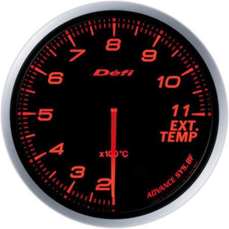 Defi Gauge Meter Advance BF Exhaust Temperature Meter (200 to 1100 degrees C) 60mm Red  DF10602