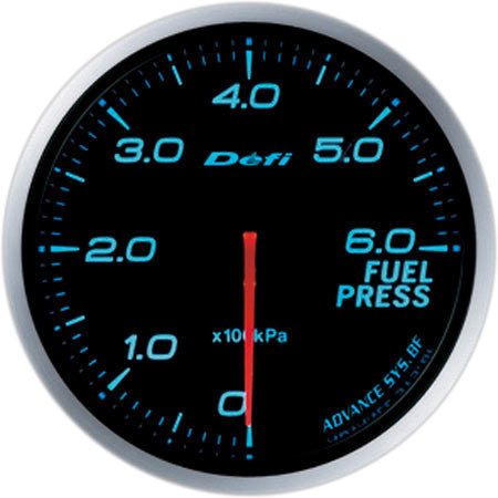 Defi Gauge Meter Advance BF Fuel Pressure Meter (0kPa to 600kPa) 60mm Blue  DF10303