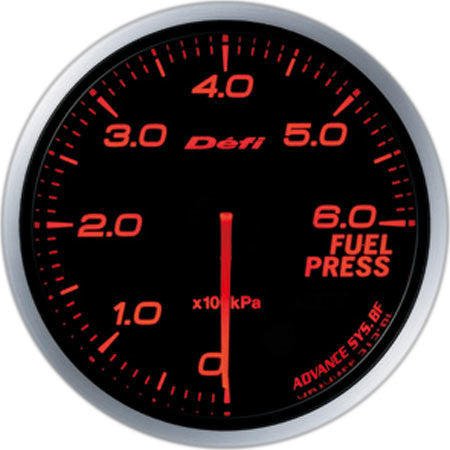 Defi Gauge Meter Advance BF Fuel Pressure Meter (0kPa to 600kPa) 60mm Red  DF10302