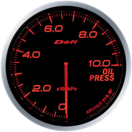 Defi Gauge Meter Advance BF Oil Pressure Meter (0kPa to 1000kPa) 60mm Red  DF10202