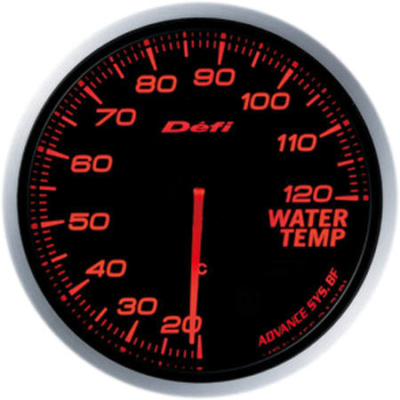 Defi Gauge Meter Advance BF Water Temperature Meter (20 to 120 degrees C) 60mm Red  DF10502