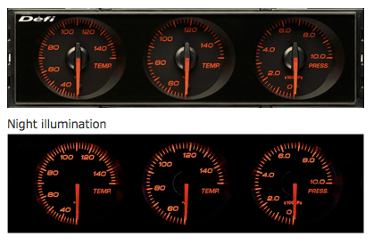 Defi DIN-Gauge Combination Meter (Red Characters/Red Illumination/Red Pointer)  DF14404