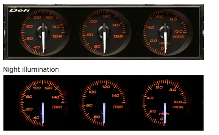 Defi DIN-Gauge Combination Meter (Red Characters/Red Illumination/White Pointer)  DF14402