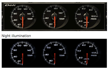 Defi DIN-Gauge Combination Meter (White Characters/White Illumination/Red Pointer)  DF14403