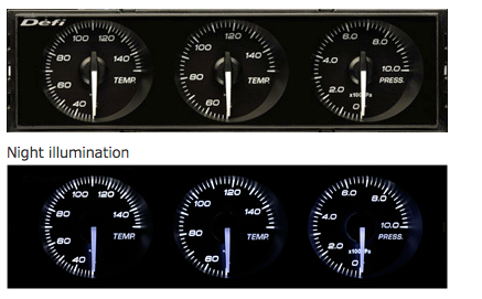 Defi DIN-Gauge Combination Meter (White Characters/White Illumination/White Pointer)  DF14401