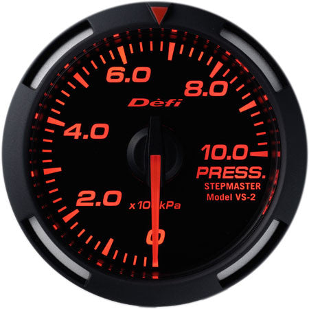 Defi Racer Gauge Pressure Meter (Oil/Fuel Pressure) (0kPa to 1000kPa) 52mm Red  DF06605