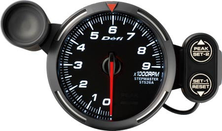 Defi Racer Gauge Tachometer (0 to 9000RPM) 80mm White  DF12003