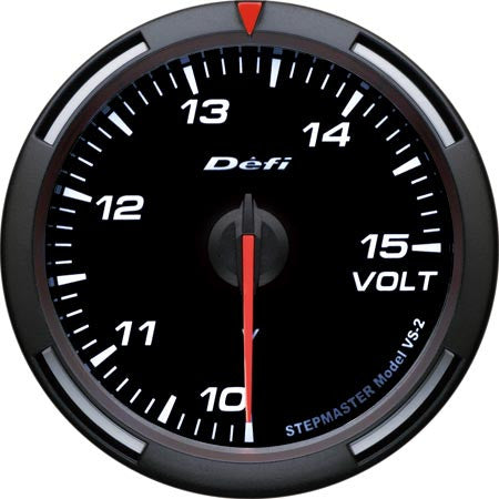 Defi Racer Gauge Voltage Meter (10 to 15V) 60mm White  DF11903