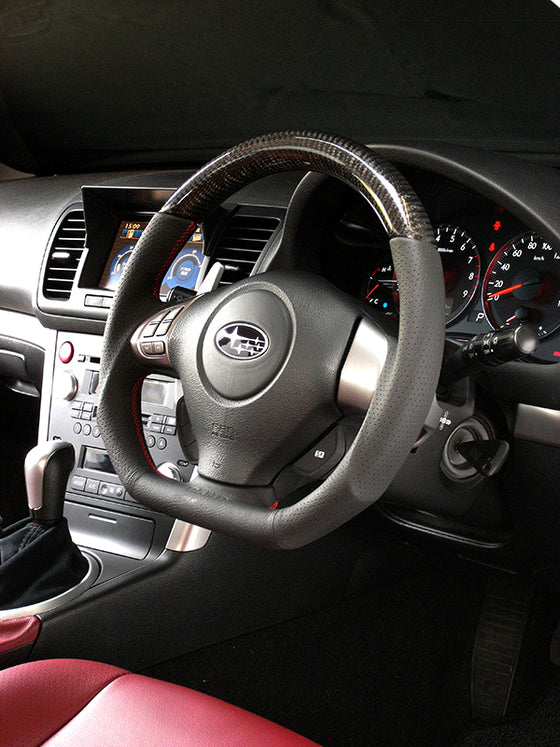 DAMD CARBON STEERING WHEEL  For SUBARU FORESTER SG MODEL (C ~ F) 2003/11 ~ 2007/1 SS358-D-F Black carbon-red stitch