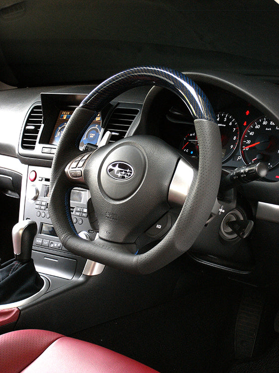 DAMD CARBON STEERING WHEEL  For SUBARU FORESTER SG MODEL (C ~ F) 2003/11 ~ 2007/1 SS358-D-F Blue carbon-blue stitching