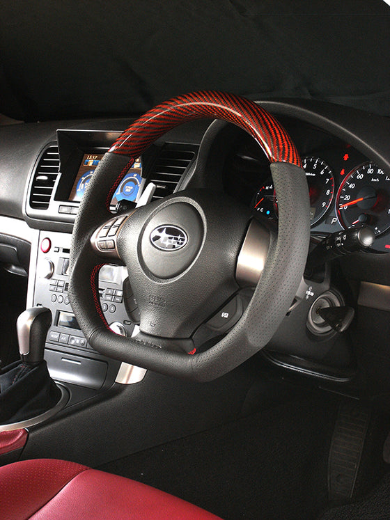 DAMD CARBON STEERING WHEEL  For SUBARU FORESTER SG MODEL (C ~ F) 2003/11 ~ 2007/1 SS358-D-F Red carbon-red stitch