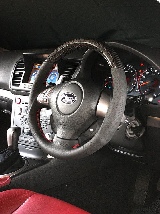 DAMD CARBON STEERING WHEEL  For SUBARU EXIGA CROSSOVER 7 YA MODEL (H~) 2015 / 4~ SS358-S-L Black carbon-red stitch
