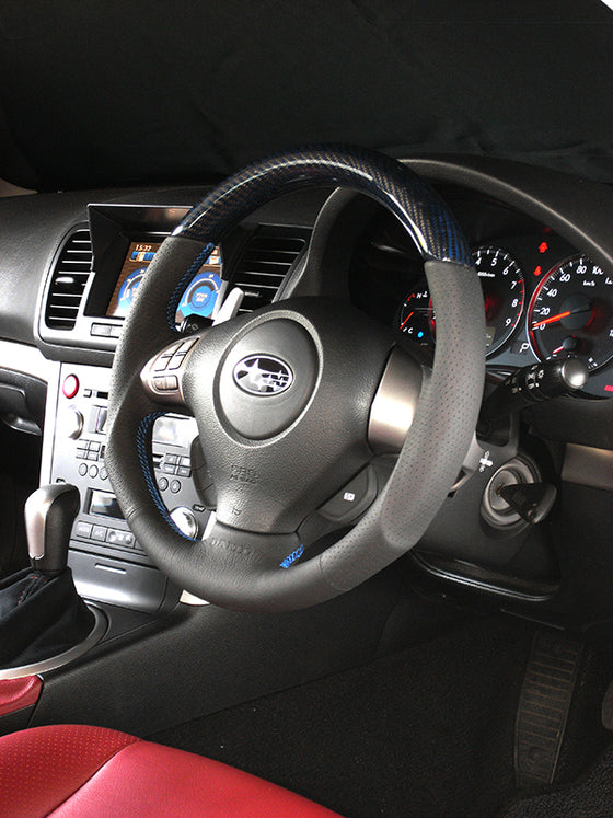 DAMD CARBON STEERING WHEEL  For SUBARU EXIGA CROSSOVER 7 YA MODEL (H~) 2015 / 4~ SS358-S-L Blue carbon-blue stitching