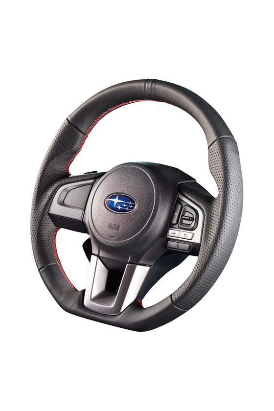 DAMD STEERING WHEEL  For SUBARU FORESTER SJ (D~) 15/11~ SS362-RX Black leather × red stitch