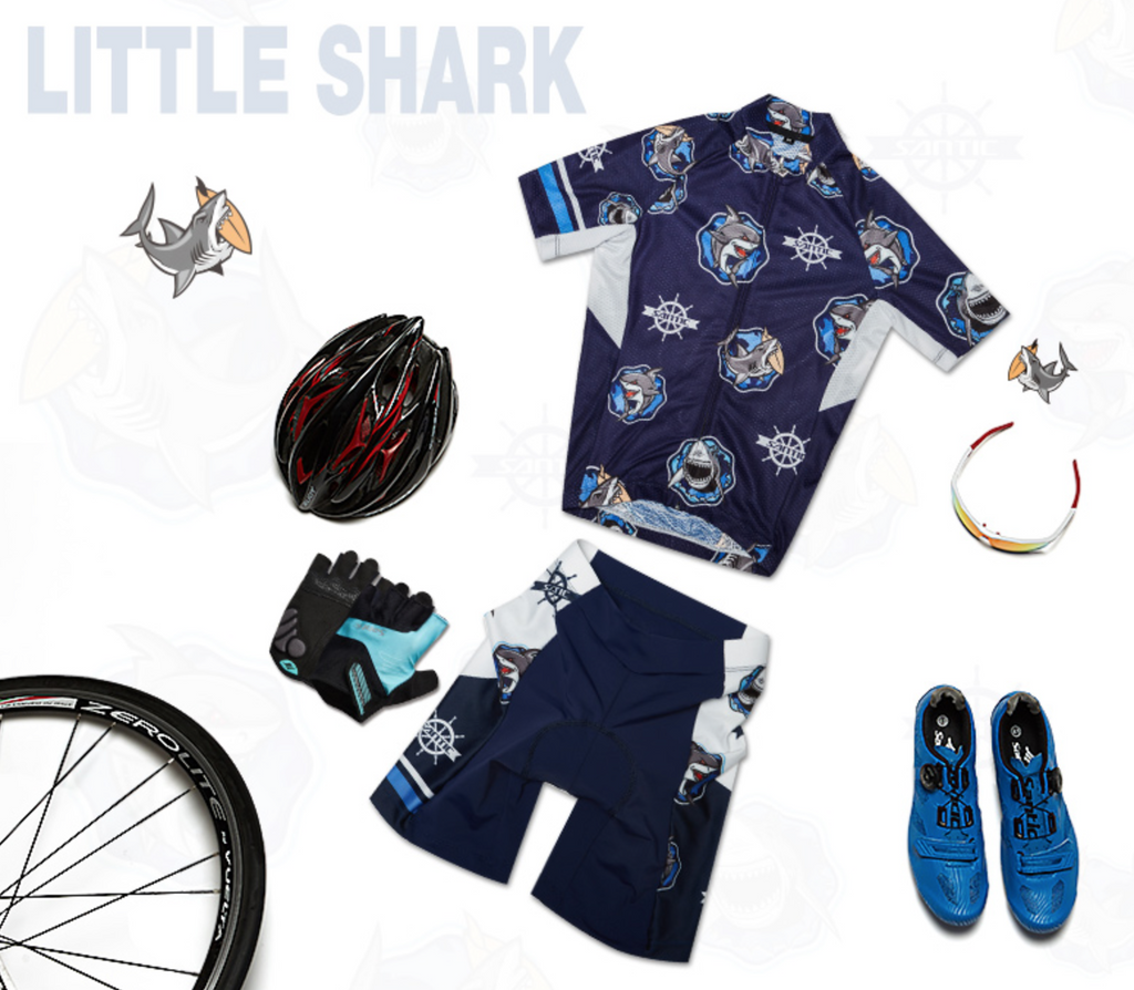 Santic Kids Little Shark Junior Cycling Kit For Boys