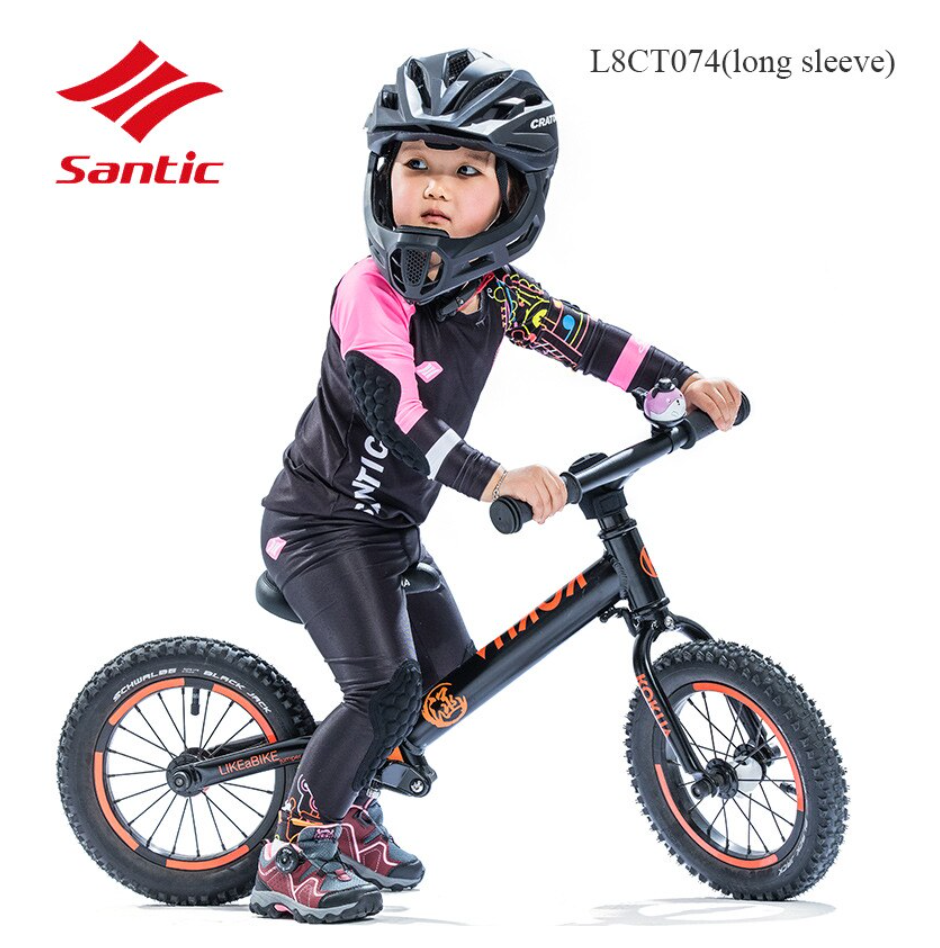 Santic Kids Q Girl's Balance Bike/ Cycling kit with arm and knee pads