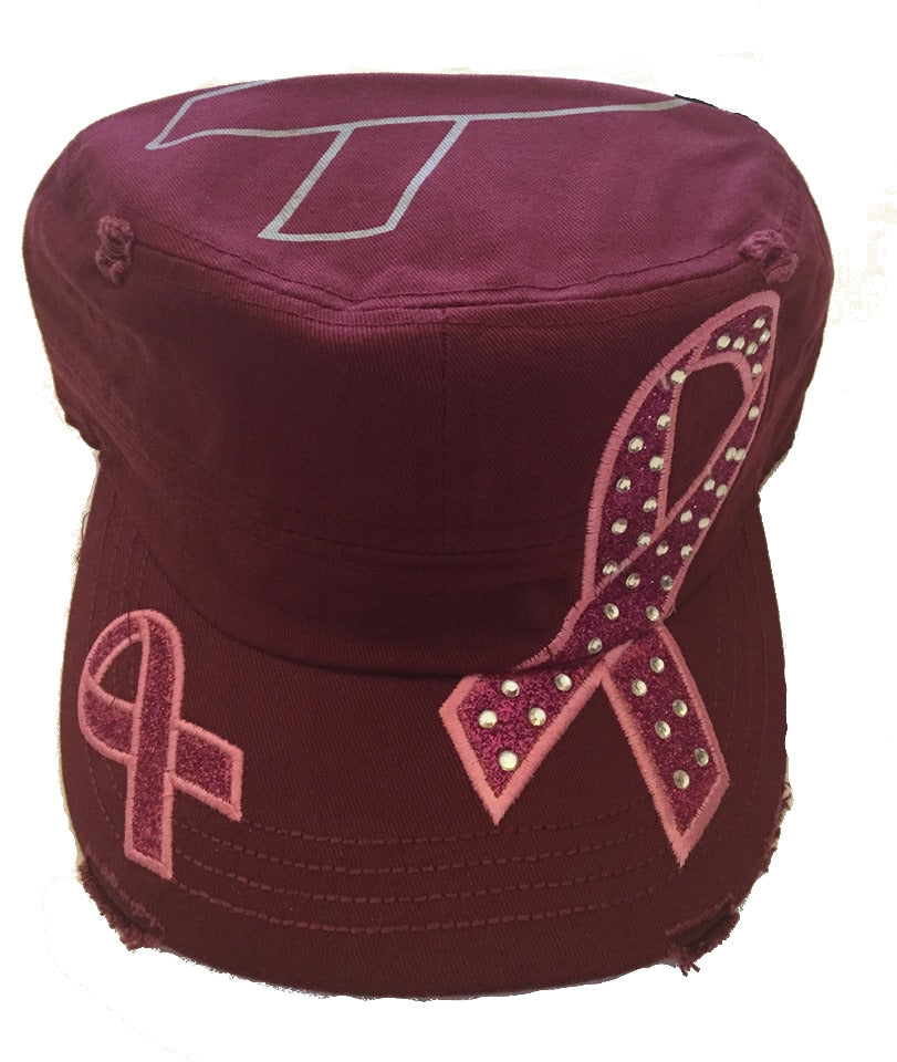 Bling Military Style Pink Ribbon Cap - Burgundy - DISTRESSED