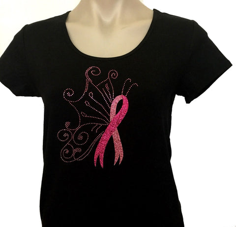 **Ladies Sparkle Butterfly T-Shirt V neck or Scoop