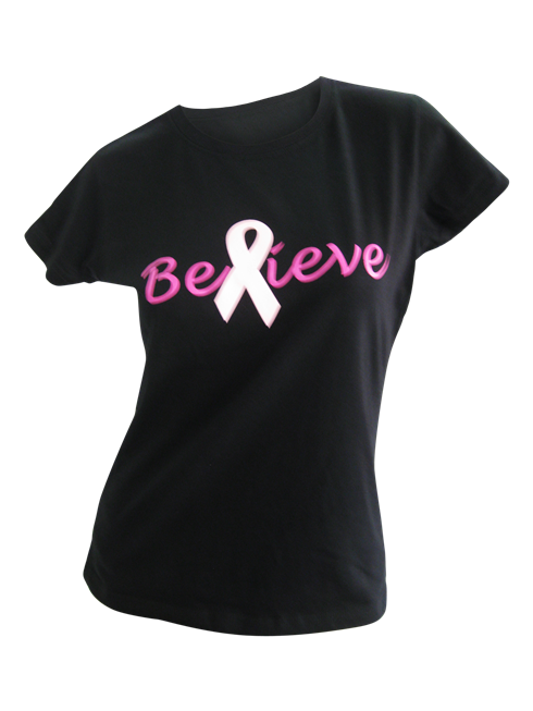 Ladies Black Believe T-Shirt