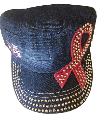 Bling Military Style Cap Blue Denim with Pink Ribbon