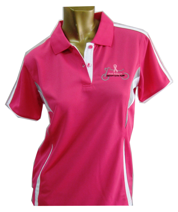 Ladies Polo Pink with White trim