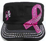 Bling Military Style Pink Ribbon Cap - Black