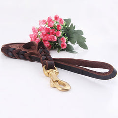 High Quality Genuine Leather Pet Dog Leash Luxury Strong Puppy Collar Leash Lead For Large Dogs S/M/L/XL - Pupvision - 2