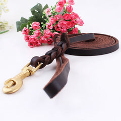 High Quality Genuine Leather Pet Dog Leash Luxury Strong Puppy Collar Leash Lead For Large Dogs S/M/L/XL - Pupvision - 3