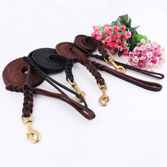 High Quality Genuine Leather Pet Dog Leash Luxury Strong Puppy Collar Leash Lead For Large Dogs S/M/L/XL - Pupvision - 6