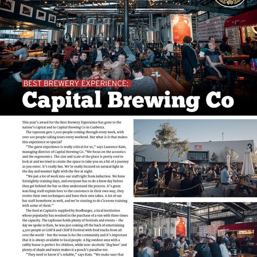 Capital Brewing Co Wins Best Brewery Experience in Australia!