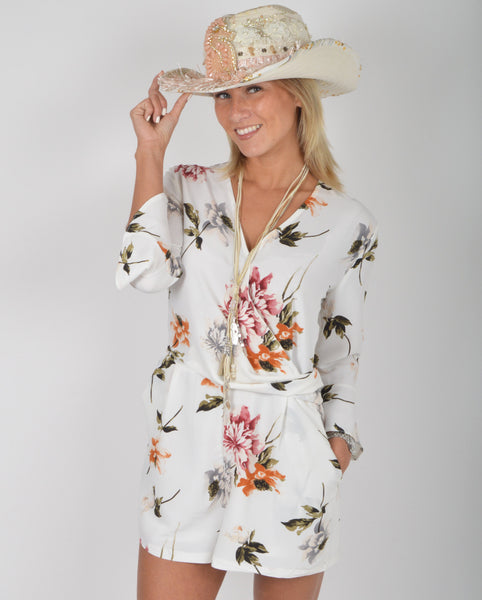 Elli White Floral Wrap Playsuit