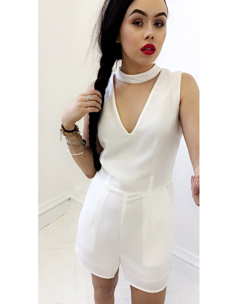 Elli White Choker Playsuit