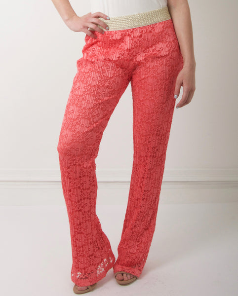 Just M Paris Floral Lace Flared Trousers