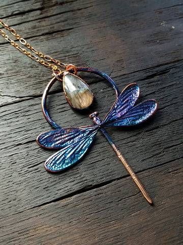 Dragonfly and Labradorite Necklace