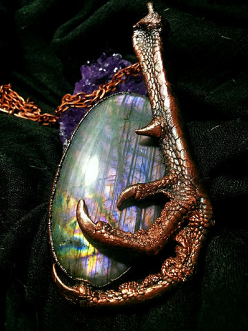 Electroformed Dragon Claw and Purple Labradorite