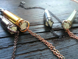 Rose and Crystal Bullet Casing Necklace