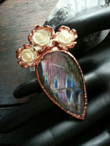 Labradorite and Rose Ring Size 6.5