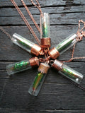Jewel Beetle Glass Vial Necklace