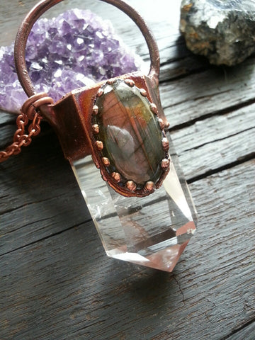 Clear Quartz and Labradorite Pendant