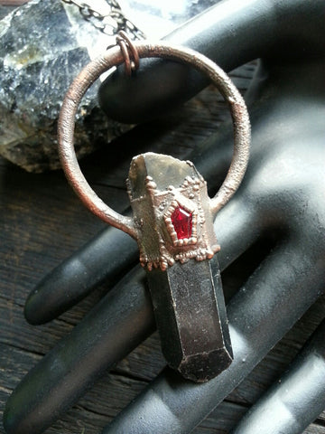 Smoky Quartz with Swarovski Coffin Pendant