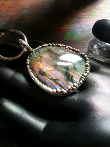 Labradorite Pendant with Silver Finish