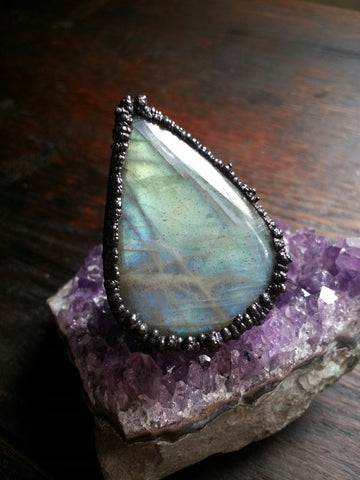 Blackened Copper Labradorite Ring Size 5.5
