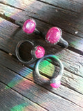 Electroformed Pink Moonstone and Blackened Copper Ring