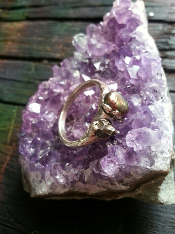 Silver Plated Meteorite and Pearl Ring