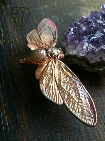 Electroformed Cicada Double Finger Ring