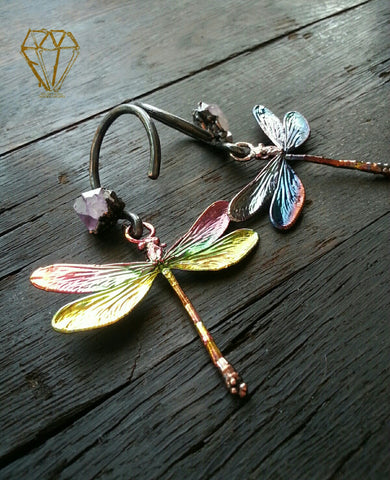 Electroformed Dragonfly and Amethyst Ear Weights