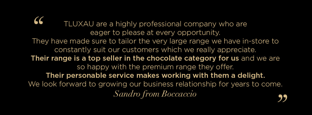 Boccaccio Cellars offer very positive testimonial on Australian Made and owned company TLUXAU. Luxury Chocolates.