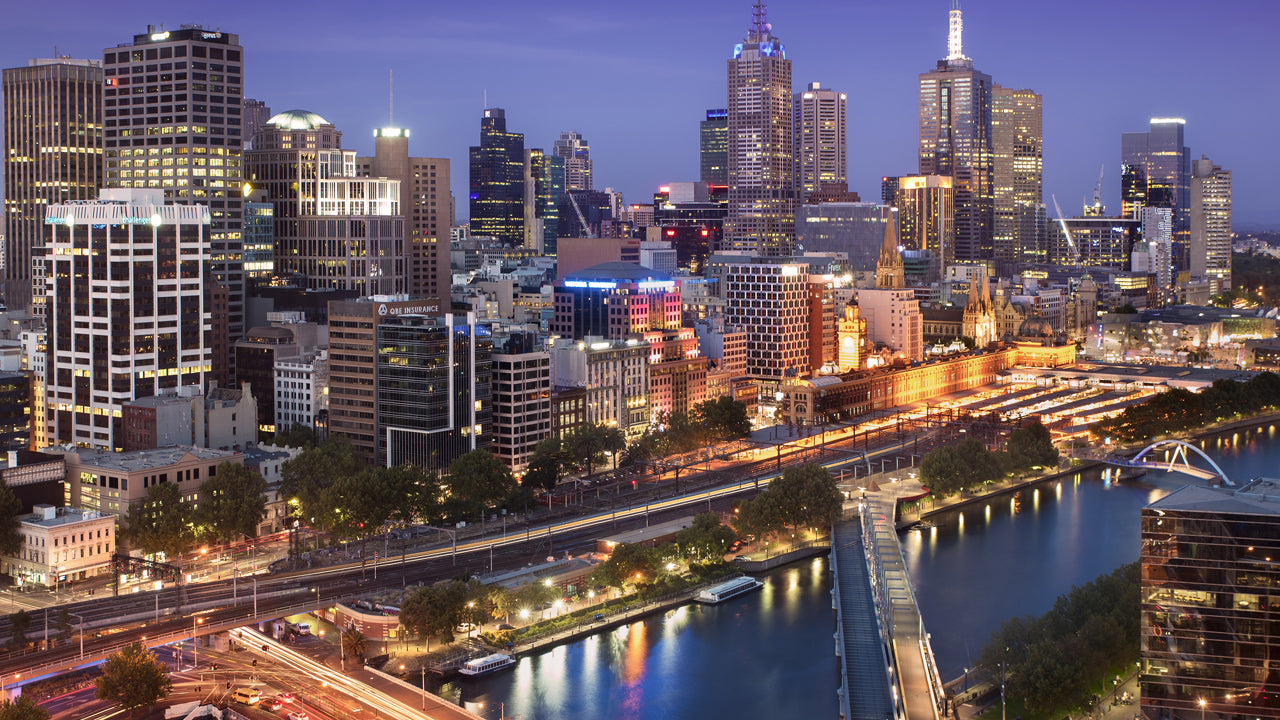 Melbourne Hotels Accommodation. Sky Lights at Night. Tluxau Luxury Hotel Supplies