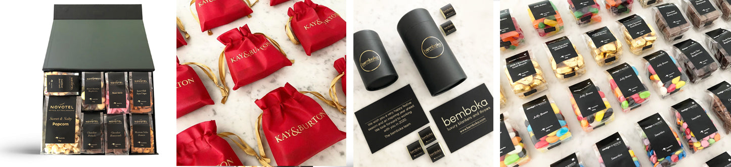 Luxury Private Label Branding for Food and Gift Hamper Boxes. Chocolates Nuts and Confectionery.